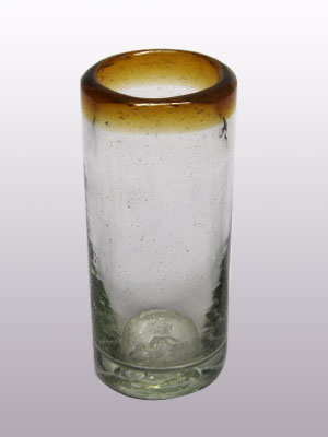 MEXICAN GLASSWARE / 'Amber Rim' Tequila shot glasses (set of 6)